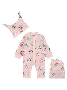 03abd2507a4 Cath Kidston Baby Girls 2 Piece Floral Sleepsuit and Hat Set with Gift Bag  - Pink