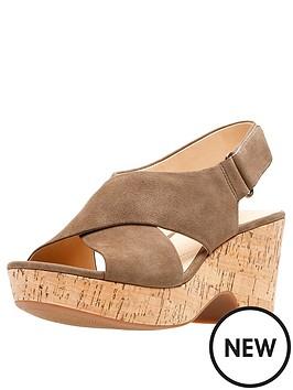 bcff510fbf4 Clarks Maritsa Lara Wedge Sandals - Olive Suede
