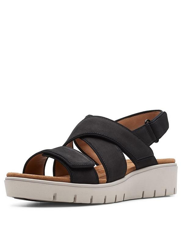 buy real men/man cheaper Unstructured Un Karely Dew Wedge Sandals - Black