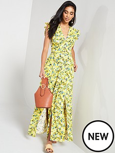 266ad804afe V by Very LINEN PRINTED BUTTON THROUGH MAXI DRESS