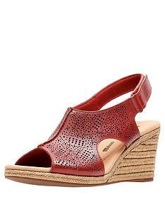 clarks-lafley-rosen-wedge-sandals-red