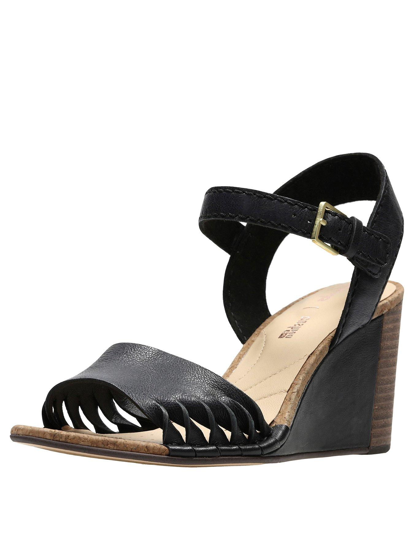 NEW CLARKS SPICED POPPY WOMENS BLACK LEATHER WEDGE SANDALS SIZE 8 42