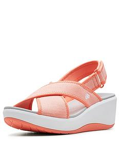 e035e63c638 Clarks Cloudsteppers Step Cali Cove Wedge Sandals - Coral