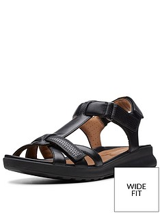 e4d75149ba6 Clarks Unstructured Un Adorn Vibe Wide Fit Flat Sandals - Black