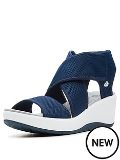 Clarks Clarks Cloudsteppers Step Cali Palm Wedge Sandal Navy