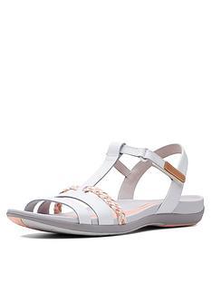 44f8dd166c4 Clarks Tealite Grace Flat Sandal Shoes - White