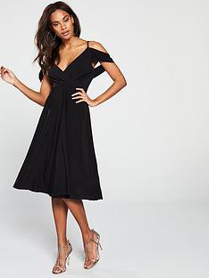 9d781171d362b V by Very Occasion Cold Shoulder Jersey Midi Dress - Black