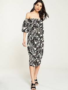 v-by-very-bardot-button-through-linen-dress-printed