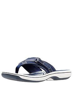 07cac52d55c Clarks Cloudsteppers Brinkley Sea Flip Flops - Navy