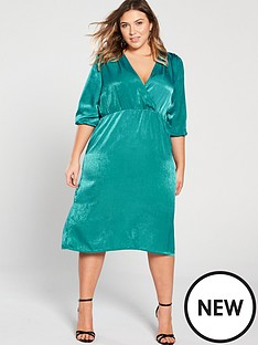 girls-on-film-curve-ruched-wrap-front-midi-dress-peacock-green