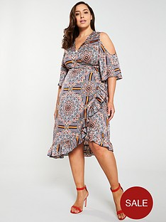 girls-on-film-curve-cold-shoulder-printed-wrap-midi-dress-multi