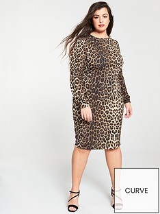1e796f1f31c96 V by Very Curve Leopard Print Midi Dress - Printed