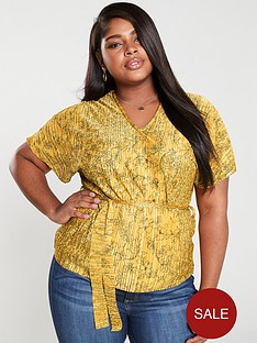 girls-on-film-curve-printed-plisse-belted-top-mustard