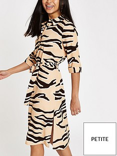 ri-petite-tiger-print-collar-dress