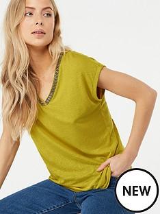 monsoon-tina-embellished-linen-top-green