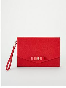 fd8f2fd79 Ted Baker Krystan Bow Leather Envelope Pouch - Red