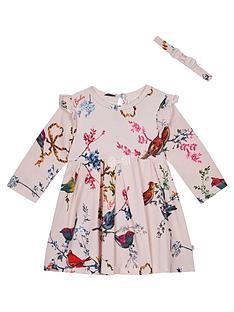 9f748810c43 Baker by Ted Baker Baby Girls Jersey Frill Dress   Headband - Light Pink