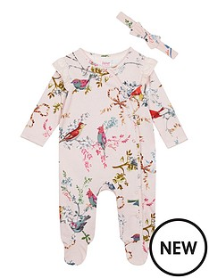 7d519a953 Baker by Ted Baker Baby Girls Frill Sleepsuit And Headband