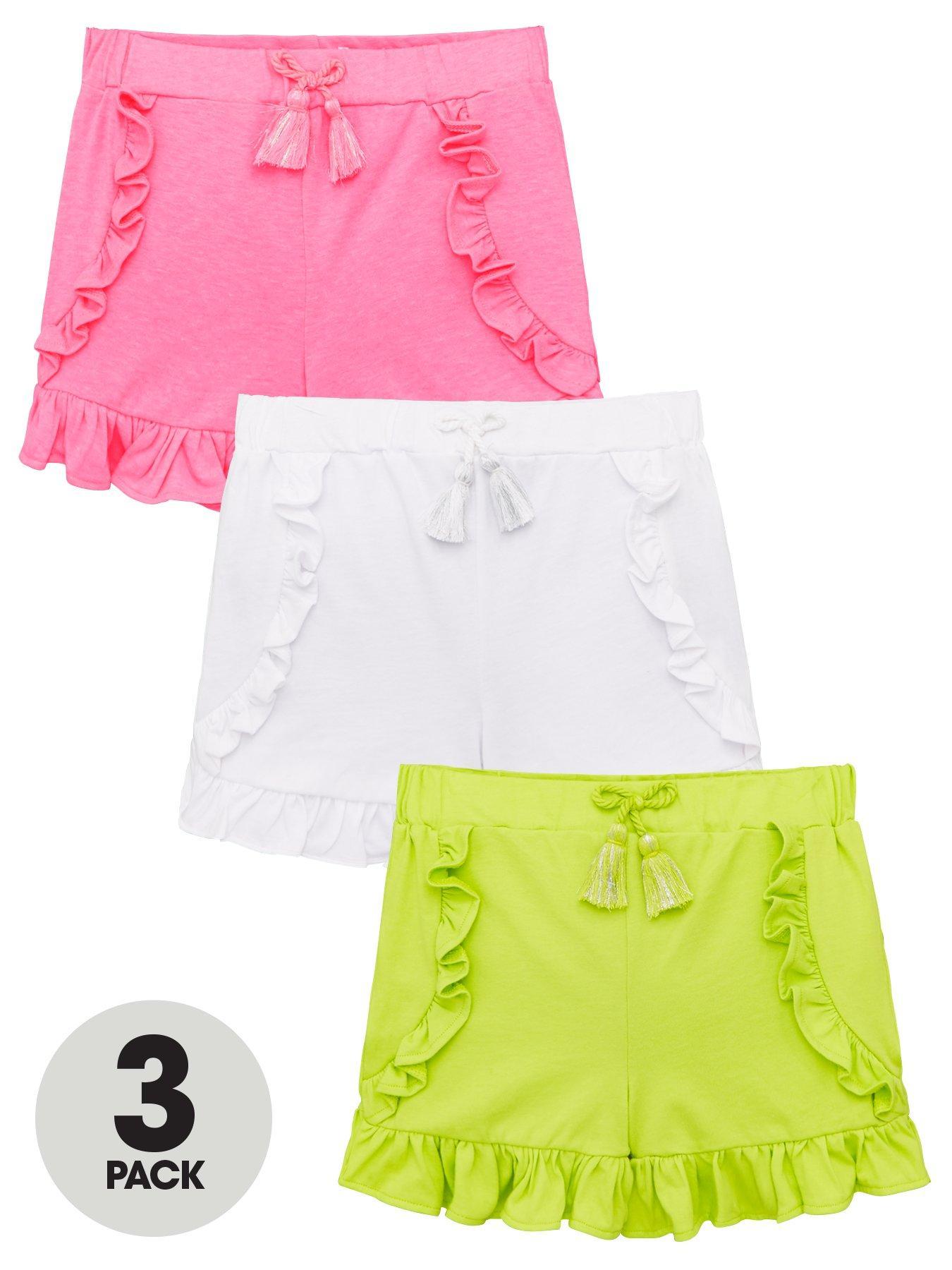 River Island Girls Teens Pink Multi Frill Hem Shorts Ages 5,6,7 11,12 New