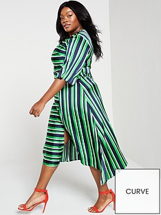 ax-paris-curve-striped-tie-midi-dress-green