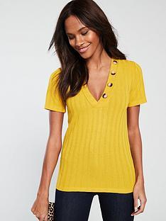 v-by-very-mock-horn-v-neck-ribbed-top-mustard