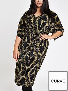 ri-plus-chain-print-plisse-dress-black