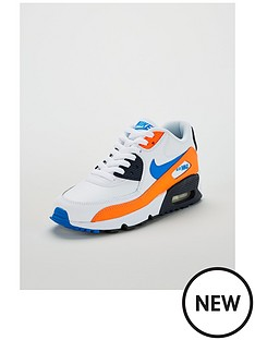 low priced 7b872 98bfa Nike Air Max 90 Leather Junior Trainers - White Blue Orange