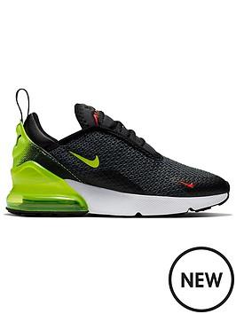 d1a9e0680 Nike Air Max 270 Childrens Trainers - Black Volt Orange ...