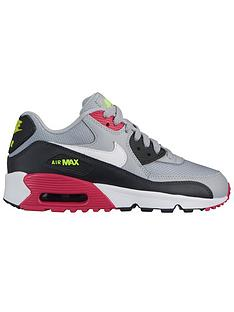 lowest price 63089 126f5 Nike Air Max 90 Mesh Junior Trainers - Grey Pink