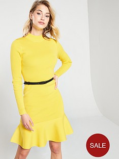 karen-millen-belted-flippy-knitted-rib-dress-yellow