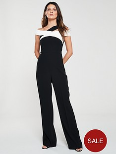 karen-millen-monochrome-bardot-bandage-jumpsuit-black-white
