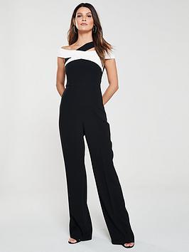 d10a70041b6e KAREN MILLEN Monochrome Bardot Bandage Jumpsuit - Black White ...