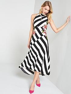 karen-millen-stripe-embroidered-dress-blackwhitenbsp