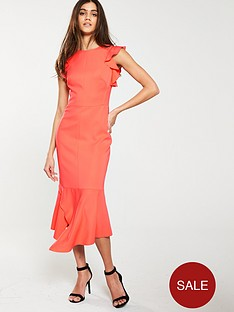 karen-millen-fit-and-flare-ruffle-dress-coral