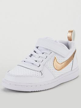 1255d5a305 Nike Court Borough Low Childrens Trainers - White/Gold ...