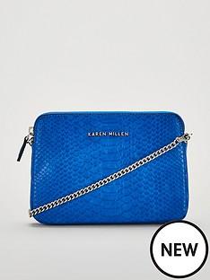 karen-millen-pu-python-cross-body-bag-blue