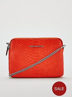 karen-millen-punbsppython-cross-body-bag-orange