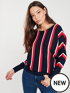 wallis-vertical-stripe-batwing-jumper-navy-red