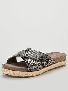 5e59f176c9a Carvela Comfort Glittered Cross Over Flat Sandal Shoes - Pewter