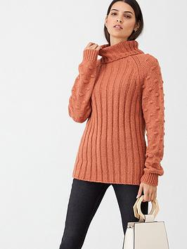 v-by-very-bobble-stitch-sleeve-roll-neck-rib-jumper-salmon-pink