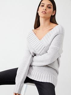 v-by-very-crossover-deep-v-neck-slouch-jumper-grey-marl