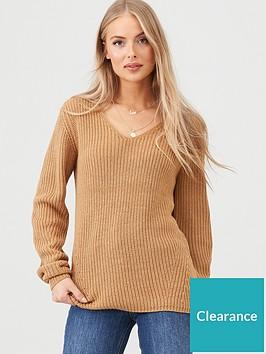v-by-very-v-neck-engineered-rib-slouch-longline-jumper-camel