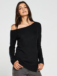 v-by-very-off-the-shoulder-slouch-zip-hem-longline-jumper-black