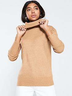 v-by-very-roll-neck-fisherman-rib-longline-jumper-camel