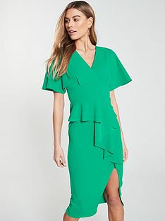 eecb66aeaec V by Very Kimono Sleeve Ruffle Front Pencil Dress - Green