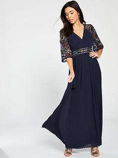 70cbbf2c0b Frock and Frill Embroidered Maxi Dress with Pleat Skirt - Navy