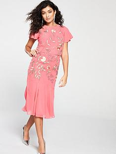 965aa48d73 Frock and Frill Gemma Two Tiered Floral Embroidered Dress - Coral