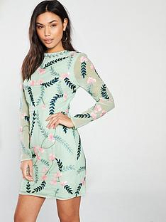 frock-and-frill-frock-and-frill-geneva-floral-vine-embellished-shift-dress-with-long-sleeves