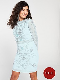 c9f9dc0108b3 Frock and Frill Embellished Long Sleeve Shift Dress - Ice Blue