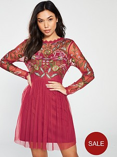 889abdac6156 Frock and Frill Gale Long Sleeve Embroidered Skater Dress - Raspberry
